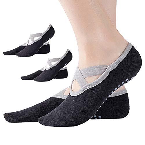 Dazisen calze antiscivolo donna - yoga socks fitness pilates ballet danza calzini cotone sport traspirante calze, black-3 paia