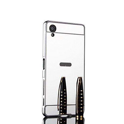 Spiegel Hülle Mirror Case TPU Schutzhülle Silikon Handyhülle Tasche Case Cover für XA1 Plus, Silber