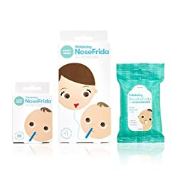 NoseFrida & BreatheFrida The Fridababy Essential Cold & Flu Set 2 in 1 Moisturizing Baby Nose Wipes/Tissues and a Nasal Aspirator, The Nose Snot Sucker and Booger Wipes in one Great Set