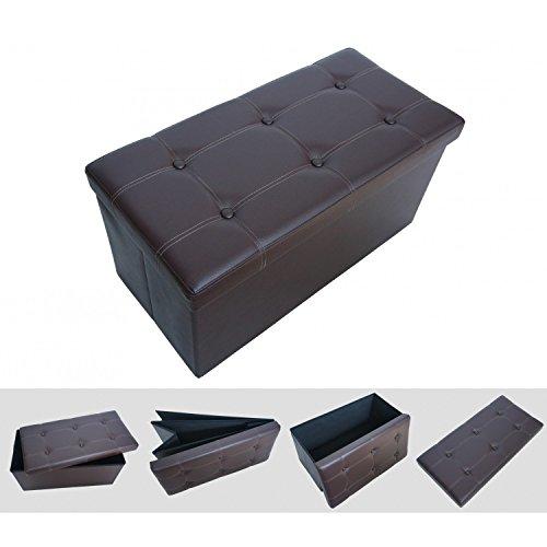 Faltbarer Sitzwürfel Sitzhocker - braun 76 x 38 x 38 cm ? eleganter und komfortabler Schemel aus Kunstleder