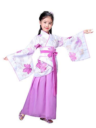Tanz Japan Kostüm - BOZEVON Hanfu - Children's Chinese Retro Kostüm Mädchen Führen Tanz Kostüme,Lila,EU 110=Tag 120