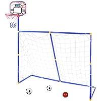 MRKE 3 EN 1 Canasta Baloncesto + Portería de fútbol para Niños Juguete  Plegables con 2 9d6d4d7e71ae9
