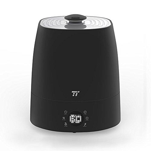 Luftbefeuchter TaoTronics 5,5L Kapazität Warm- und Kaltnebel Ultraschall Befeuchter für 40-60㎡ zu Hause und im Büro mit 6 Benutzerfreundlichen LED-Symbolen, Exakter Feuchtigkeitsmessung, 360° Drehbarer Düse, Cleverem Niedrigwasserschutz, Schwarz (Kühlen Nebel-luftbefeuchter Schwarz)