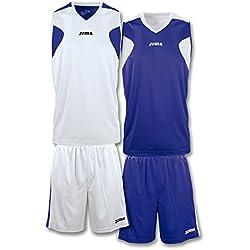 Joma Basket - Set de equipación de manga corta unisex, color blanco / azul marino, talla XS-S