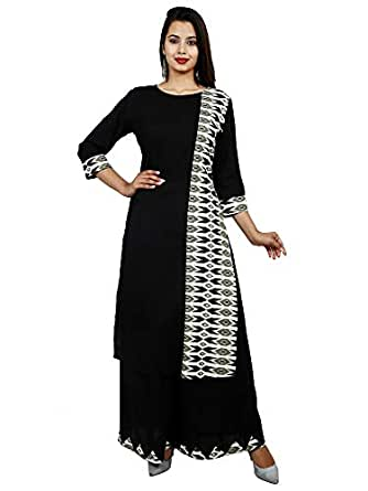Asha Print Women's Rayon Kurti With Palazzo Set, BLACK
