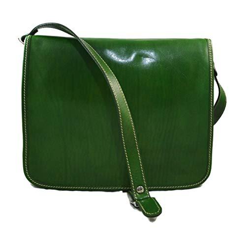 b7cd7dab450 Bolso messenger de piel verde bolso de hombre piel bolso de mujer piel  bandolera de cuero