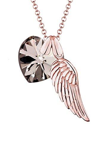 Elli Damen-Kette mit Anhänger Herz Liebe Freundschaft Liebesbeweis Flügel Silber 925 Rose Vergoldet Swarovski Kristalle - 70cm Länge