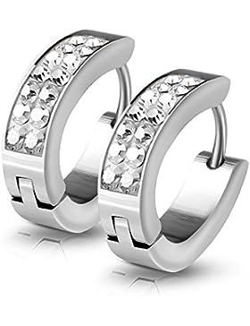 KULTPIERCING - Ovale Zirkonia Creolen 1 Paar Ohrringe Edelstahl Schmuck Damen Ohrschmuck Hoops Silber Kristalle...