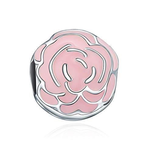 Damen Charm Sterling-Silber 925 Malerische Blüten Clip Damen-Bead Charms Rosa Rose für Armband