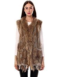 Uilor/® 100/% Naturale Knit Coniglio delle Donne Pelliccia Mantello