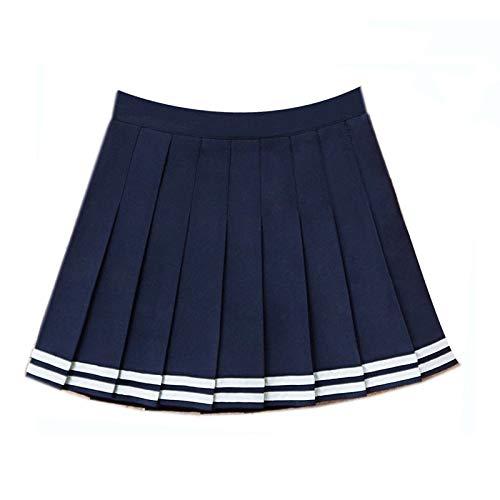 DWWAN Kurzer Rock High Waist Ball Denim Pleated Skirts Stripe A-line Skirt M Dark Blue