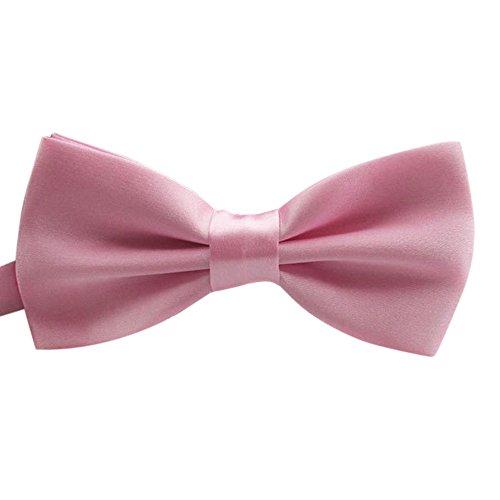 Coolster Mens Classic Skinny Bow Krawatten Krawatte Satin Formal Tuxedo Bowtie, Variety Farben erhältlich (Hell-Pink) (Satin Weiß Formale Weste Tuxedo)