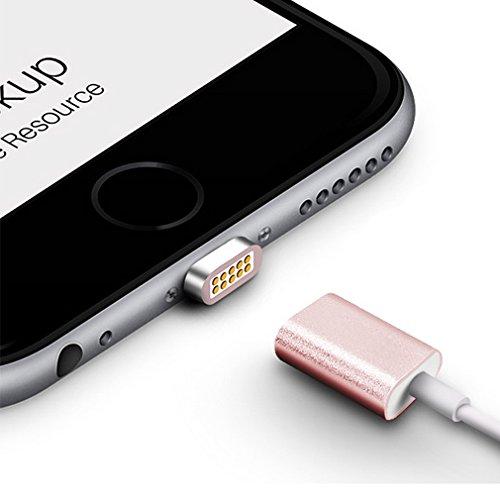 First2savvv oro Super Forte Cavo Lightning con calamita. Connessione magnetica per Apple iPhone 7 6S/6 Plus, iPhone 5S/5C/5, iPad Pro/Air 2, iPad Mini 4. 1,2 m e 2.4 A CTX-A-BB13 2 X rosa