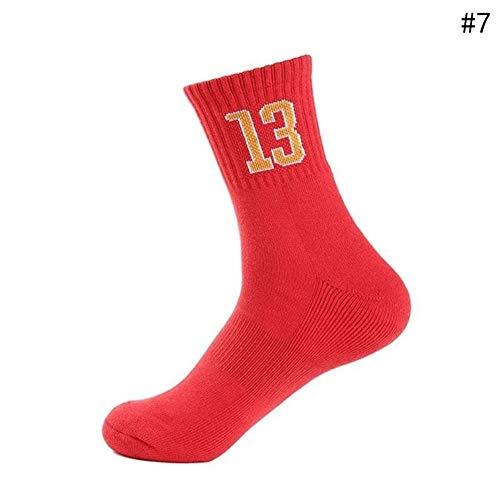 CfMWz Basketball Abfahrt MTB Bike Socken Red verdicken Run Jogging atmungsaktiv warm halten Cozy verdicken UV Schutz Kälteschutz (Size : Free Size (39-45))