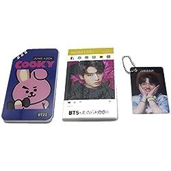 BTS Bangtan - Mini cuaderno de notas para niños + BT21 mini cuaderno de primavera + mini tarjeta de fotos con cadena de bolas