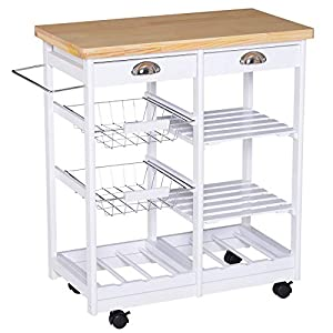 Homcom Küchenwagen mit Schubladen und Flaschenhalter aus Holz und Weiß