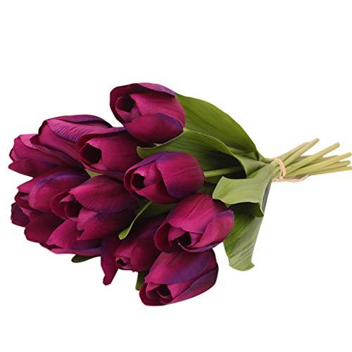 Bringbring fiore artificiale fiore finto tulipano materiale in lattice vero tocco matrimonio stanza famiglia alberghi festa diy al operto decorazione 12pcs (viola)