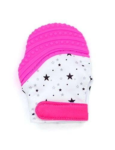 Knisternder Handschuh für Babys | Zahnungshilfe aus umweltfreundlichem Silikon | Ersatz für Beißring | inkl. Beutel von BALUX (Rosa mit Sternen)