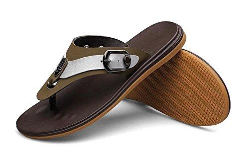 SHIXR Hommes Cuir Pantoufles Summer Flip Flops Cuir Chaussons de plage Open Back Sandales Khaki