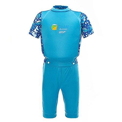 Vine Kinderschwimm Float Suit Schwimmhilfe Neopren Anzug 2-teilig Schnell trocknend Jungen Swim Trainer, Blau 7-8 Jahre tragen