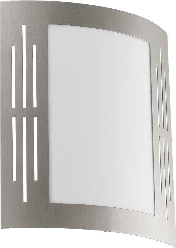 Eglo 82309 - Lampada da parete in acciaio INOX e plastica bianca, modello City, 1x 15W, attacco E 27 (lampadina non inclusa), IP33, 24 x 27 cm