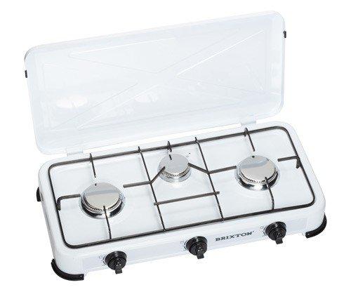 Gaz Plaque de cuisson avec couvercle, Réchaud à gaz, cuisinière de camping 3 ampoules, 4 kW Réchaud Gaz, blanc