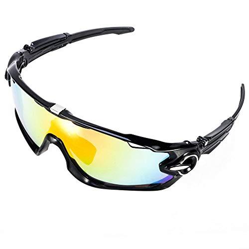 ACS1986 Polarisierte Sport-Sonnenbrille mit austauschbaren Lenes für Männer Frauen Radfahren Laufen Fahren Angeln Golf Baseball Brillen (4-Farben-Wechselobjektiv) (Neues Schwarzes)