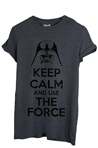 T-Shirt KEEP CALM STAR WARS LA FORZA - FILM by MUSH Dress Your Style - Uomo-S-ANTRACITE MELANGE