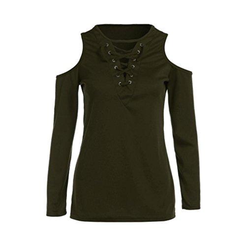 Camicia Donna Rcool Sexy Bendare V-Collo Retro Camicetta Maglietta Maglia pullover manica lunga Tops T shirt Primavera e autunno Verde militare