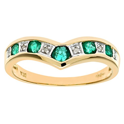 Naava Damen-Ring 9 K Gelbgold Diamant Smaragd