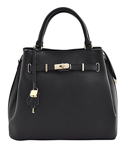 FULVIA Handtasche Italienisch Tasche Henkeltaschen Echtes Leder Made in Italy (Medium Italienischen Leder Echtem)