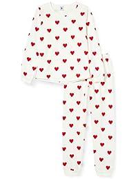 Petit Bateau 5856301 Pyjama Enfant Imprimé Cœurs en Molleton Fille