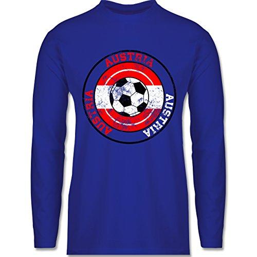 Shirtracer Fußball - Austria Kreis & Fußball Vintage - Herren Langarmshirt Royalblau