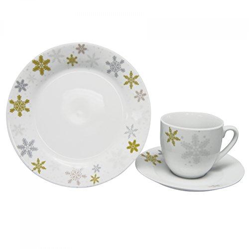 Van Well 18tlg. Kaffeeservice Golden Star Porzellan weiß mit winterlichem Motiv, Kaffeetassen +...