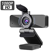 Dericam Webcam 1080P HD con microfono, webcam per videogiochi, webcam per laptop o desktop, fotocamera per computer USB per Mac, installazione driver gratuiti, clip girevole flessibile