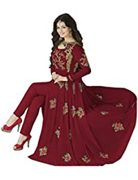 Dress Material (Clothfab Women's Georhette Embroidery With Stone Work Party Wear Anarkali Salwar Suit)