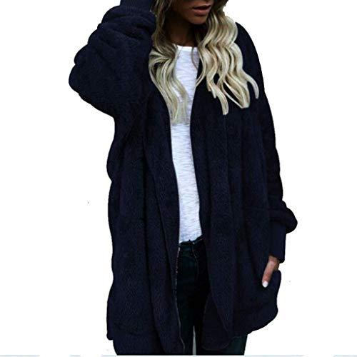 Qiusa cappotto cardigan con cappuccio parka outwear da donna (colore : navy, dimensione : small)
