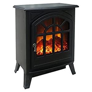 Charles Bentley Large 1750W/1.7kW Electric Stove Fire Remote Control Operated - Black