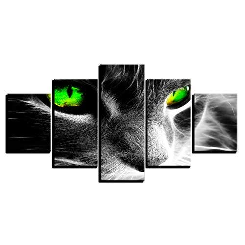 KKXXWLH Hd Drucke Bilder Rahmen Wohnzimmer Wandkunst Tier Leinwand Gemälde 5 Stücke Abstrakte Grüne Augen Katze Poster Wohnkultur