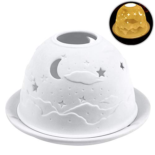 Night Lights, Kimfly Tealight Candle Holder Tea Light Porcelain with LED Light for Halloween, Christmas, Birthday, Home, Dinner, Wedding, Party, Decor (Starry Sky(Home-Set))