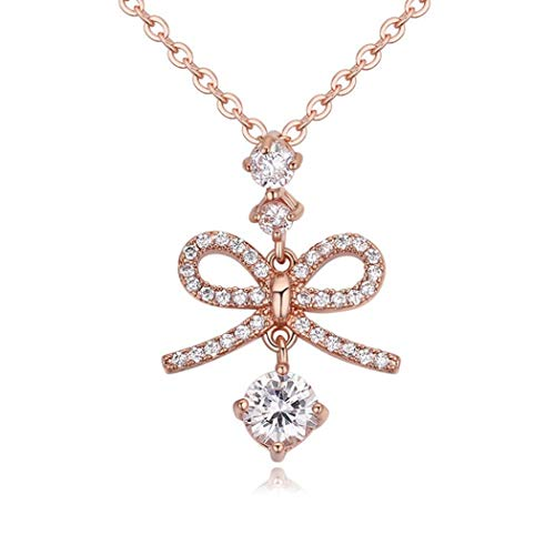 WUFANGFF Zirkon Halskette Damen Schmuck Bow Tie Modellierung Minimalistische Mode, Rose Gold