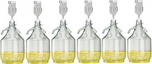 lilawelt24 6 x Set 5L Bügelflasche + Stopfen + Gärröhrchen Weinballon Gärballon Glasflasche Bügelverschluß Gärbehälter -