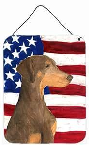 Carolines Treasures SS4058DS1216 USA American Flag with Doberman Aluminium Metal Wall Or Door Hanging Prints