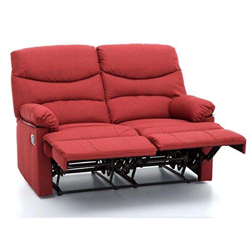 Divano divanetto 2 posti con reclinatore manuale in tessuto my living karol rosso