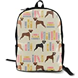 Boxer Library Books Cute Dog Breed Lite Adult Premium Travel Backpack, Water-Resistant College School Bookbag, Sport Daypack, Outdoor Rucksack, Laptop Bag for Men&Women