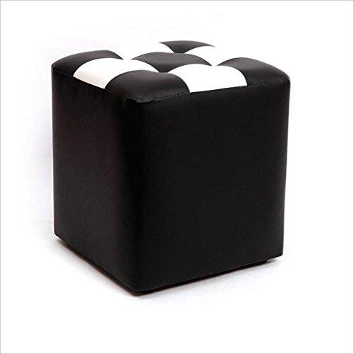 Tabouret à carreaux blanc noir Tabouret en cuir carré Tabouret de bar Tabouret à maquillage imperméable (30 * 30 * 35cm)