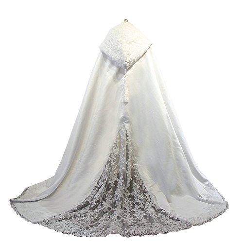 Damen Spitze Mantel Weiß Braut Umhang Lang Brautkleid Mantel Brautumhang (Weiß, 200cm)