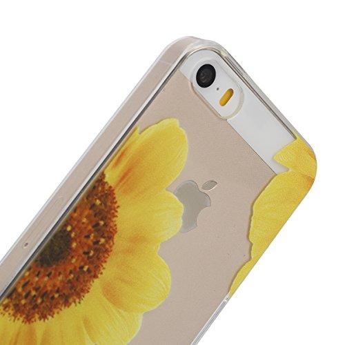 SainCat Coque Housse pour Apple iPhone 6s,Transparent Coque Silicone Etui Housse,iPhone 6 Silicone Case Soft Gel Cover Anti-Scratch Transparent Case TPU Cover,Fonction Support Protection Complète Magn Jaune moitié de fleurs