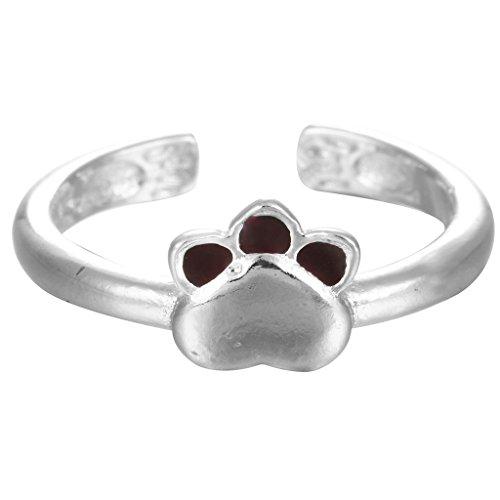 Knuckle anillo anillos de plata de ley 925esmalte rojo Animal de huellas de perro de mascota gato Paw abierto anillo para las mujeres