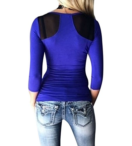 WanYang Damen Rundhals Ausschnitt Sweatshirt Pullover Bluse Oberteile Tops Langarm sexy T-shirt Blau